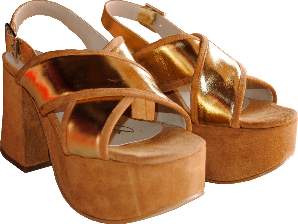 c94938cf915 zapato mujer sandalias plataforma dorado praxis 100% cuero. Cargando zoom.