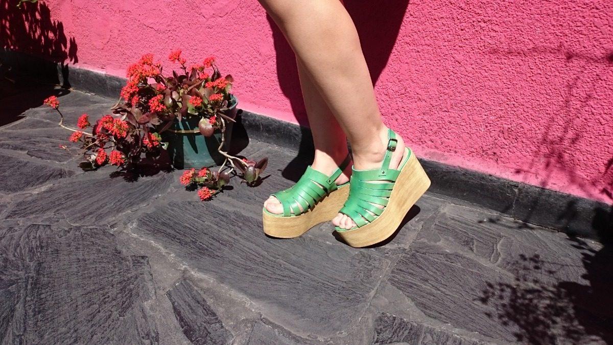 39be5af1 Zapato Mujer Sandalias Plataforma Verdes Praxis 100% Cuero - $ 1.699 ...