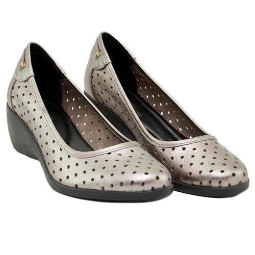 zapato mujer taco chino, calado cuero peltre marta sixto