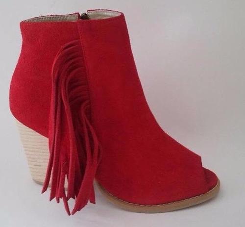 zapato mujer tipo botin flecos rojos 100% cuero