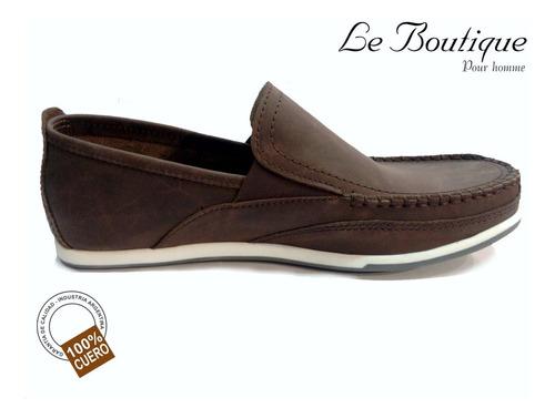 zapato náutico cuero color marron  foot notes 215 hot sale