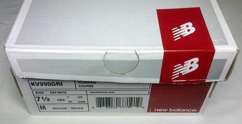 zapato new balance para niño, gris y blanco, talla 24