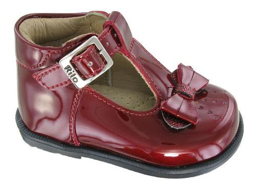 zapato niña rojo charol hebilla pi2933