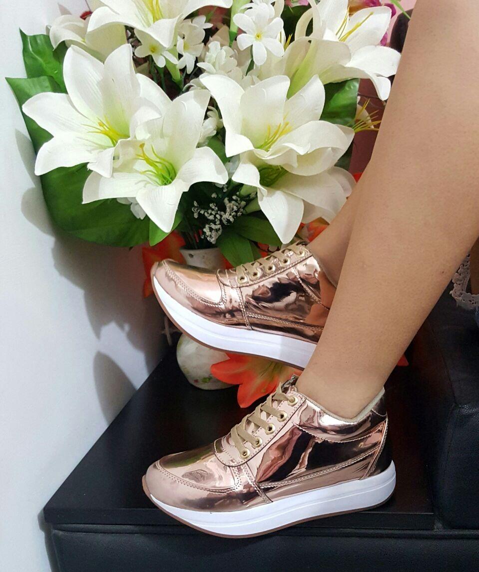 54e5d8d8a91 zapato para mujer color oro rosa deportivo dama moda ellas. Cargando zoom.