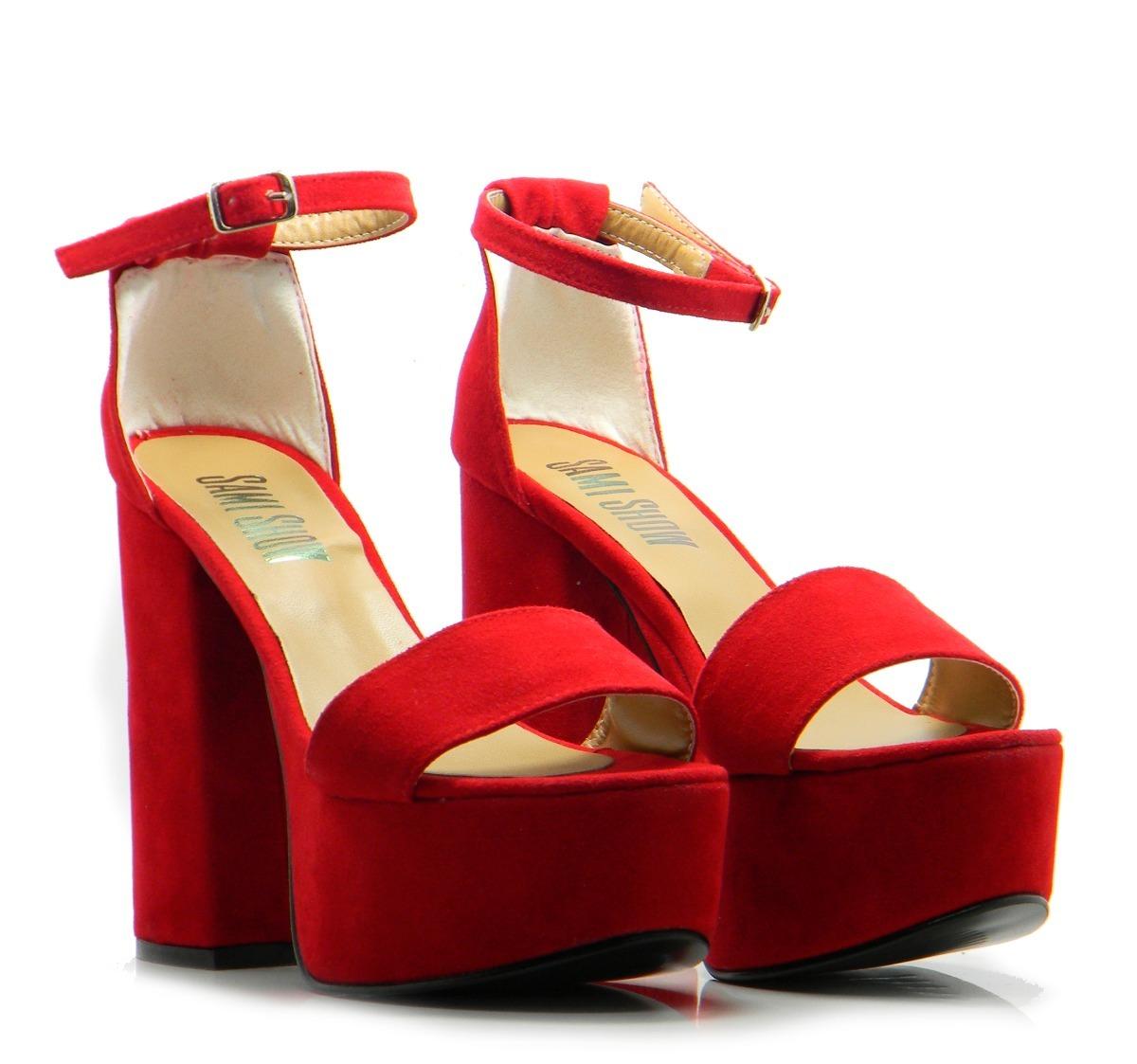 364b603c zapato rojo sandalia mujer verano plataforma roja taco nuevo. Cargando zoom.