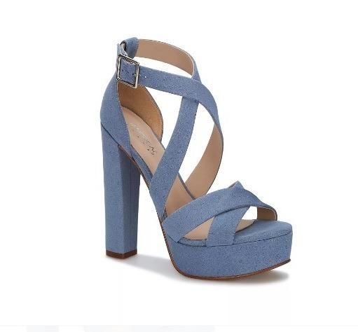 Ancho Zapato Azul Sandalia Alto Ufjt3kcl51 Tacón Correas Hebilla Andrea FKcl1JT