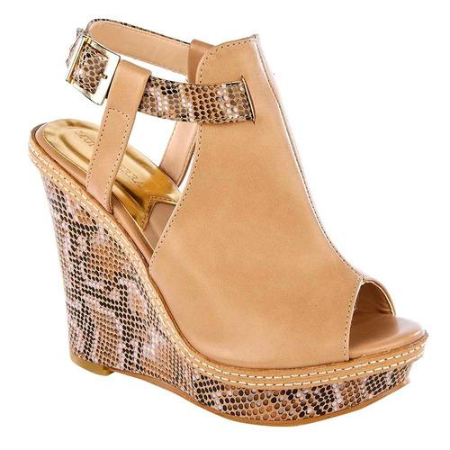 zapato sandalia mujer beige diseño en tacón 8442