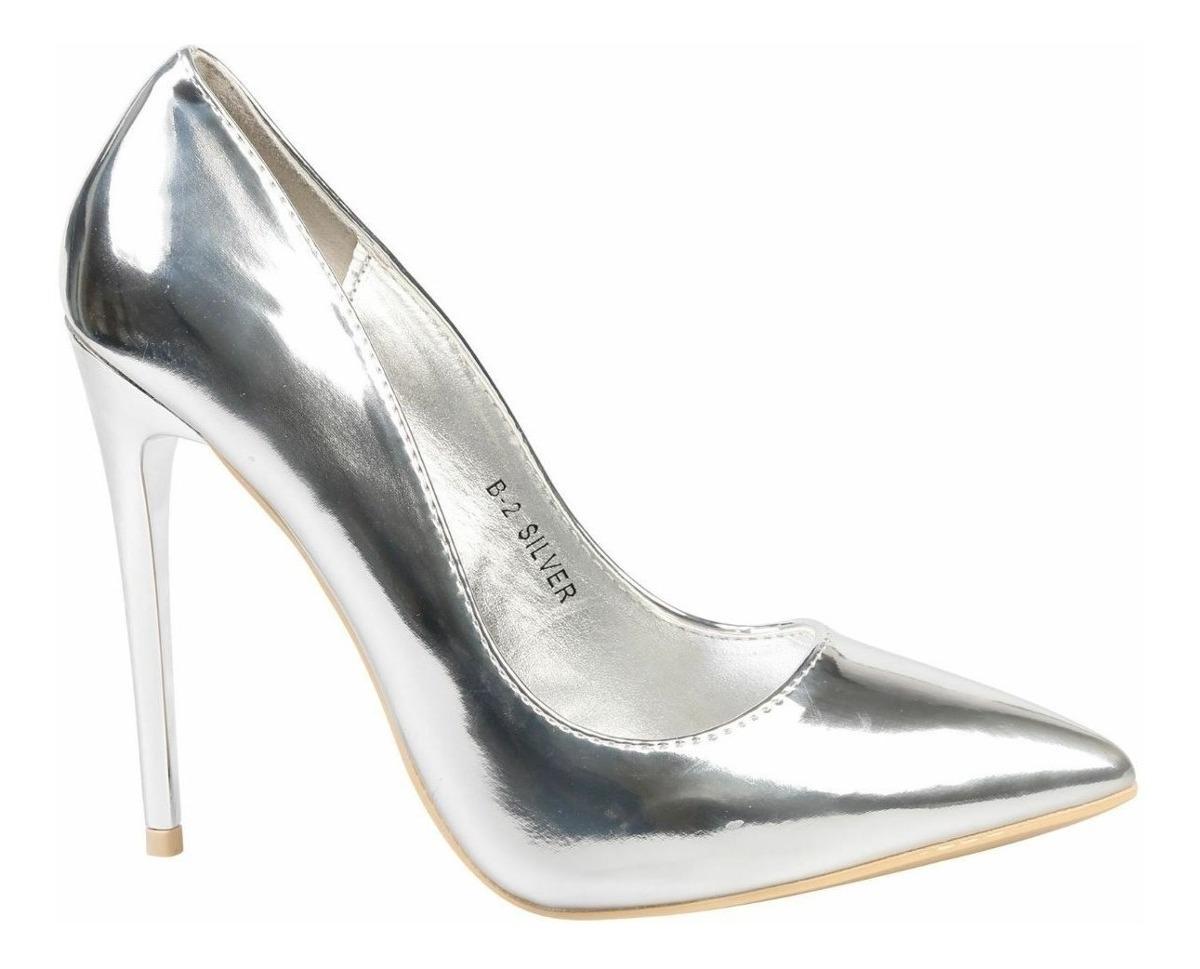 lo último f18e7 45bad Zapato Stiletto Plateados Elegantes
