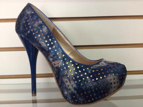 zapato stilleto plataforma azul diseño brillo  strass 38
