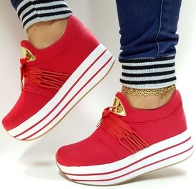 a440b38bf50c Zapato Tenis Deportivo De Mujer Color Rojo Moda Elegancia