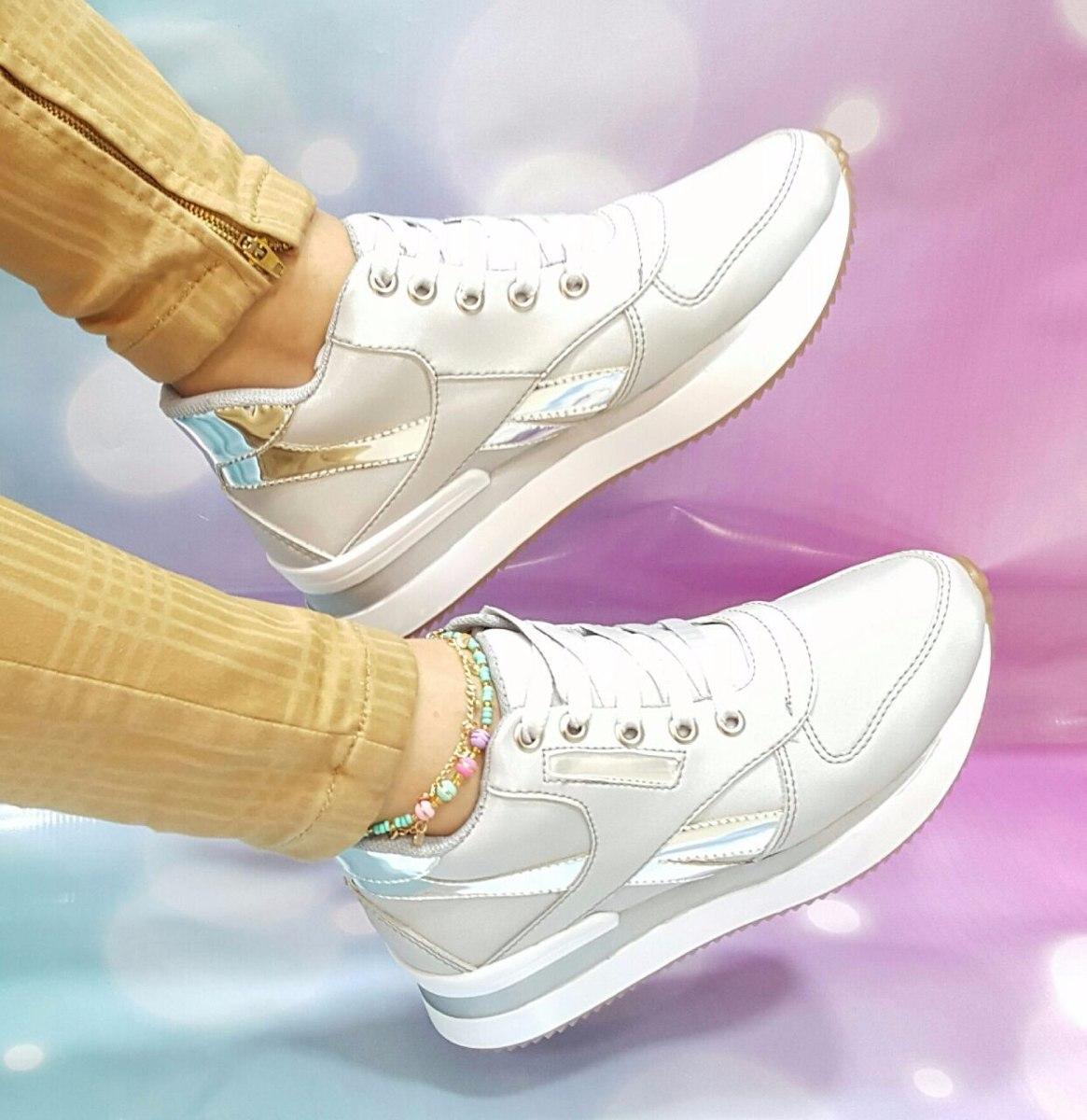 5c88706b03 zapato tenis deportivo moda 2017 damas mujeres plateado. Cargando zoom.