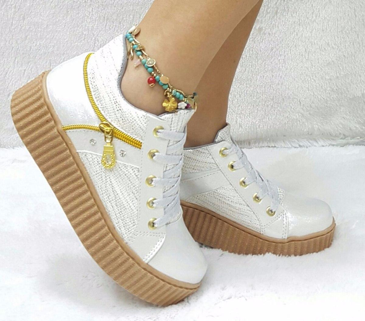 2aa328c1184bb zapato tenis deportivo mujer beis beige hueso dorado de moda. Cargando zoom.
