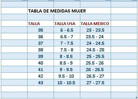 Conversión de tallas de ropa USA-España
