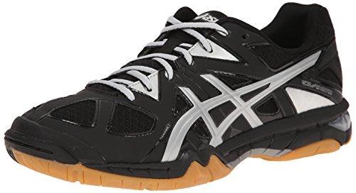 zapato voleibol gel táctica mujeres asics , negro / plata ,