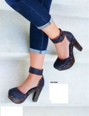 zapatos 12926 sandalias azul vintage plataforma pulsera
