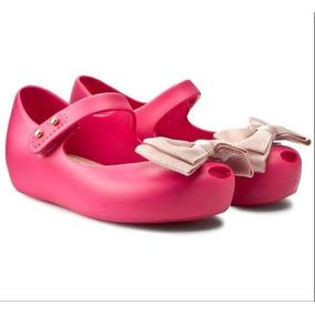 407aa66c73e Zapatos Mini Melissa Original Niña Rosa Fresa Moño 12 Al 17
