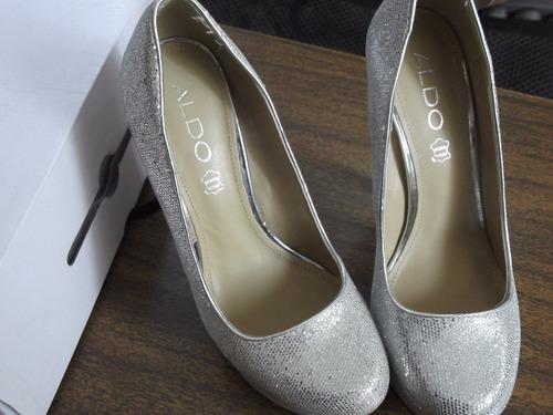 zapatos aldo dama plateados ,.nuevos para fiesta o cóctel