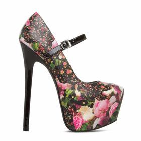Zapatos Alto Taco Plataforma Floreado Negro 6 36 Stock