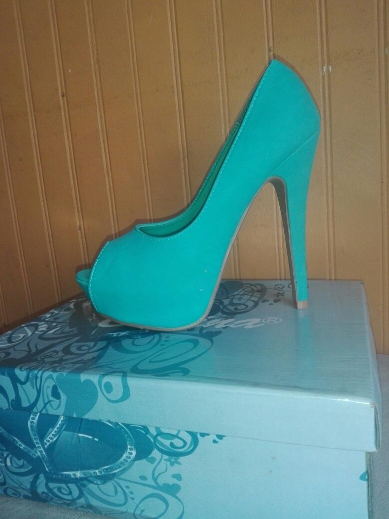 calzado nuevos precios más bajos compra venta Zapatos Altos Formales De Fiesta ... Hermosos Verde Turquesa ...