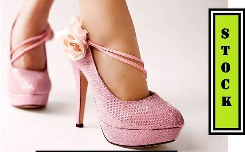 zapatos altos tacos brillo fiesta talla 36 importado dama