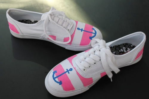 zapatos anclas rosa diseño hecho a mano marca collec