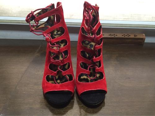zapatos anne michelle rojos altos con agujetas