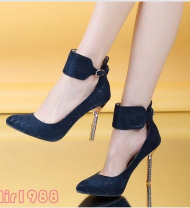 reunirse 56c04 255f1 Zapatos Azules Tacón Metálico Pulsera Num Grande Extra 29mex