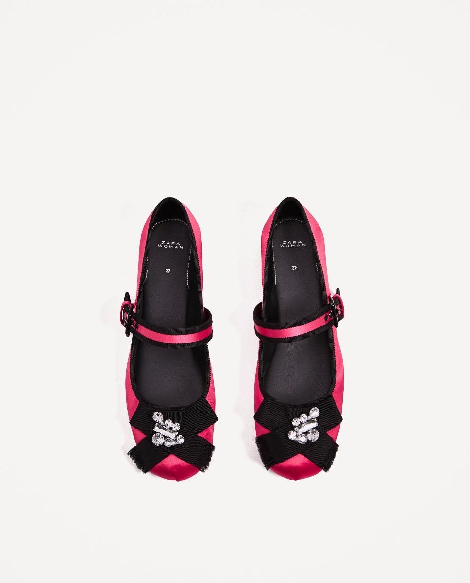 0ef89ad0 Zapatos Bailarina Fucsia Contraste Negro Importado Zara - $ 2.400,00 ...