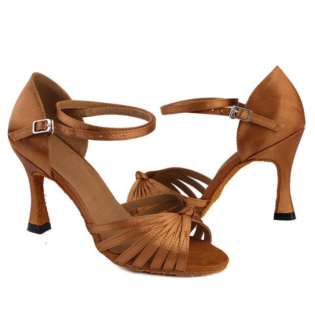 66b0f8d3 Zapatos Baile Latino Mujer Dama Bronce - Satén - Tacón 6cm ...