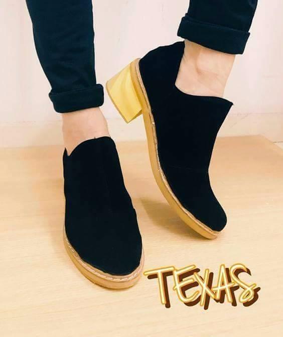 2017 Texas Moda Texana Bajos Zapatos Madera Baja Taco Mujer 2EDHIWY9