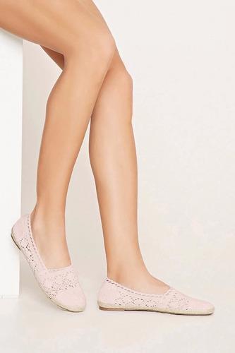 zapatos baletas forever 21 crochet dama  - blush