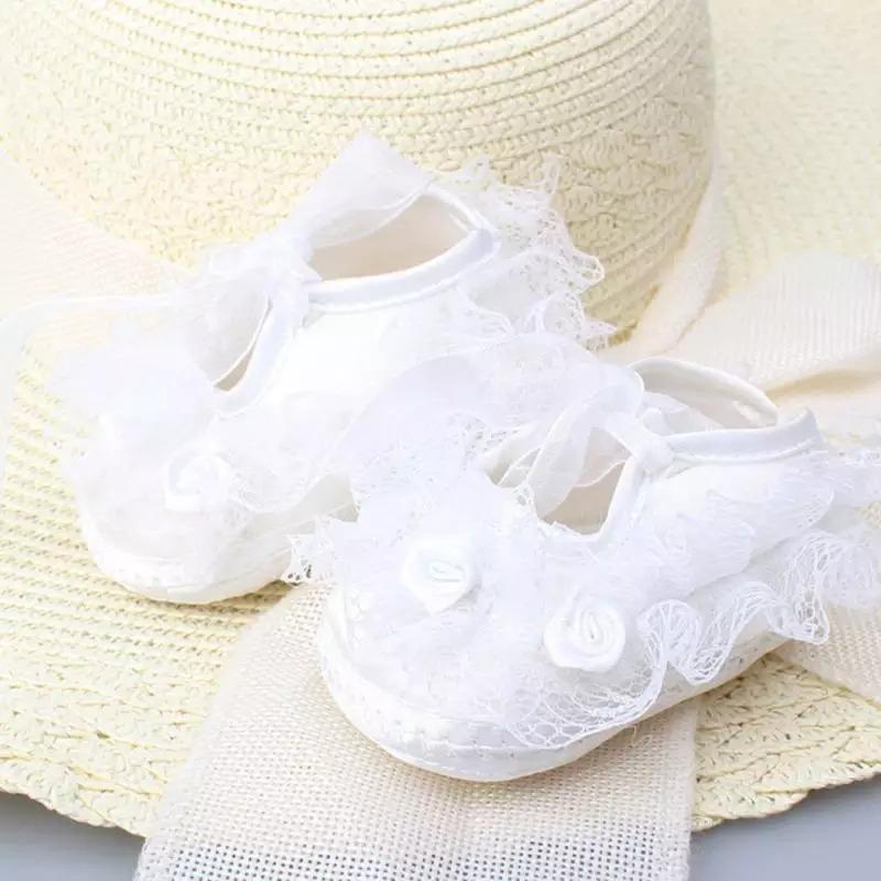 Zapatos Bebe Encaje Y Flor - $ 250.00 en Mercado Libre