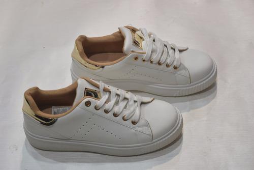 zapatos blancos con dorado metalizado goma cerrados dama 38