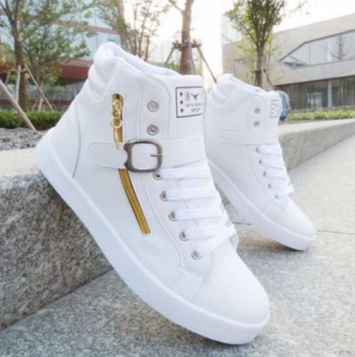 zapatos blancos fashion hombre high sneaker casual sports