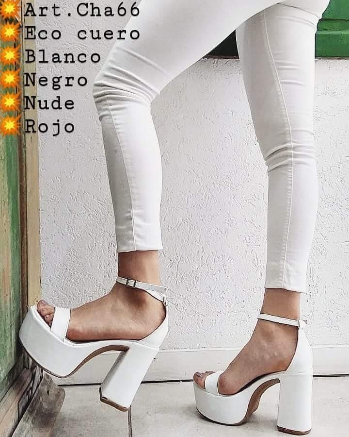 zapatos blancos tobillera plataforma taco medio cuero eco. Cargando zoom. 0ea0df4d83c