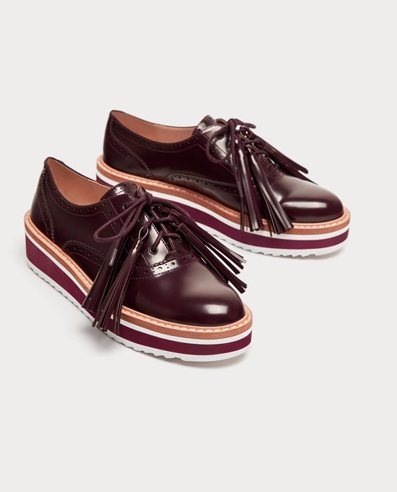 26697776c Zapatos Blucher Bordó Plataforma Flecos Importado Zara -   2.990