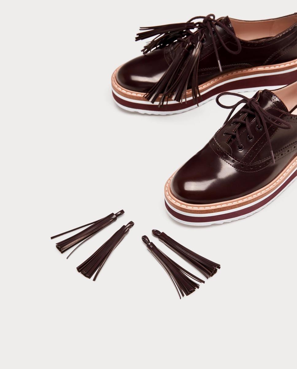 a7fd5bdfa zapatos blucher bordó plataforma flecos importado zara. Cargando zoom.