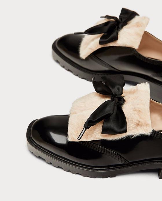 Delantero 2 Zapatos En Lazo 00 Zara Blucher Charol Con Negro 990 qHwrAH0X