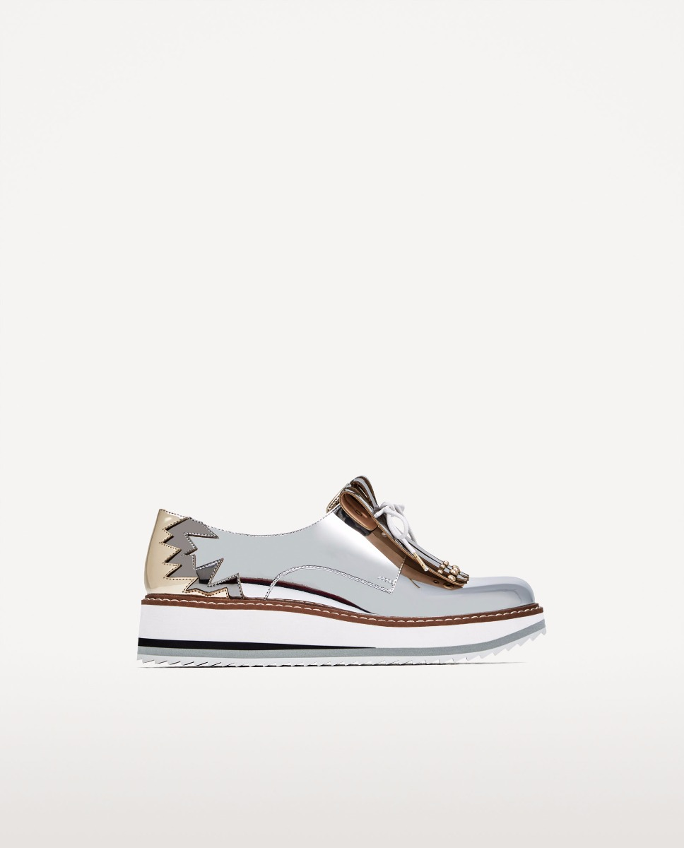b71e527be zapatos blucher plataforma con flecos importado zara. Cargando zoom.