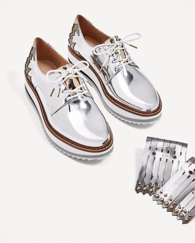 a1ebfeb0d Zapatos Blucher Plataforma Con Flecos Importado Zara -   2.790