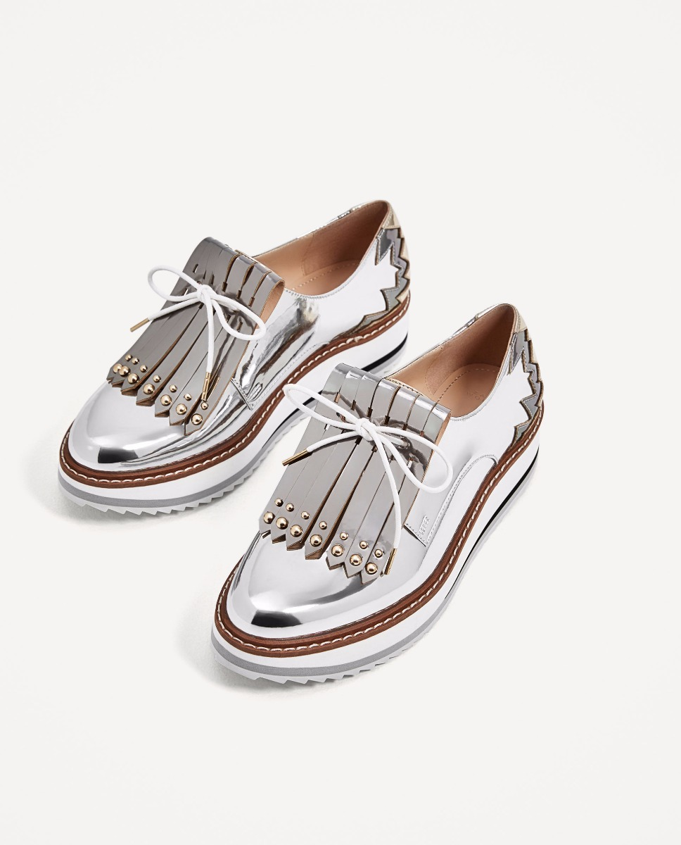 2c06b7741ed zapatos blucher plataforma con flecos importado zara. Cargando zoom.