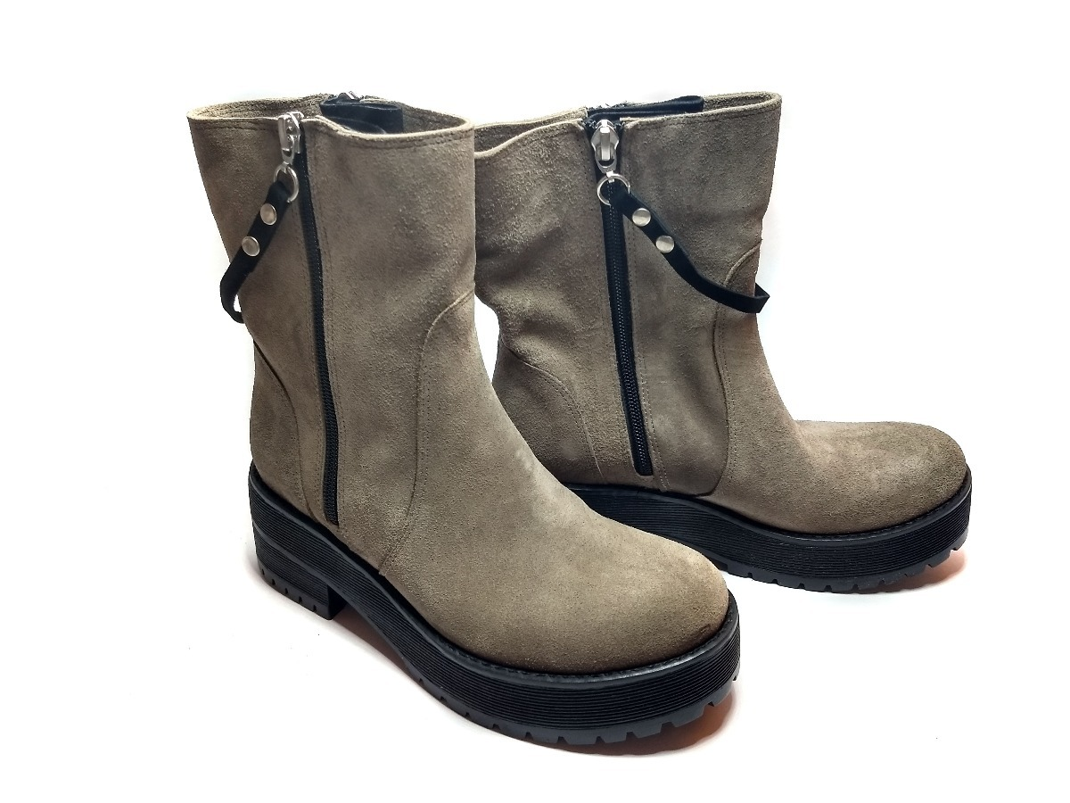 Caña Zapatos Cuero Mujer 190 Media 2 Botas Vacuno Gamuza Botitas q1xwr1AEO