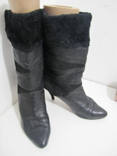 zapatos botas españolas cuero negro talla 40. liquidación¡¡