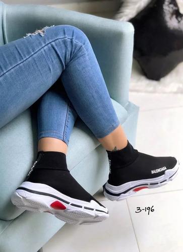 zapatos botas tipo media para niñas y damas