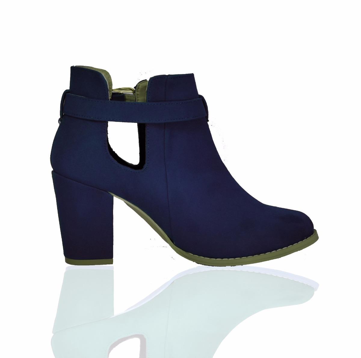 07d08777 Zapatos Botin Dama Tacon Ancho Botines Gamuza M2036 Azul - $ 299.00 ...