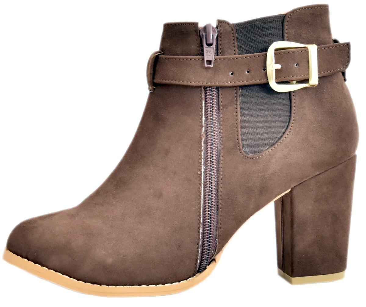 60% barato varios diseños rebajas(mk) Zapatos Botin Dama Tacon Ancho Mujer Botines Piel M2040 Café