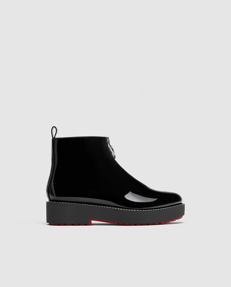 890 Zara2 Mercado Libre 00 Zapatos Plano Botin Charol Dama En n0wPXk8O