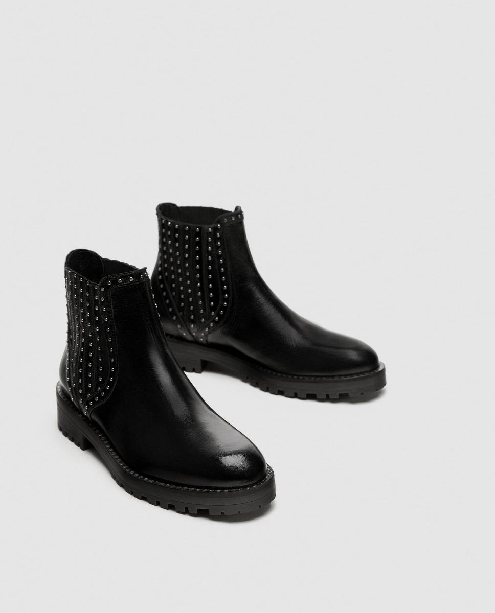 1a971238ff934 Botin Cargando Tachas Negros Zara Dama Cuero Zapatos Zoom Plano Pqg7dP0