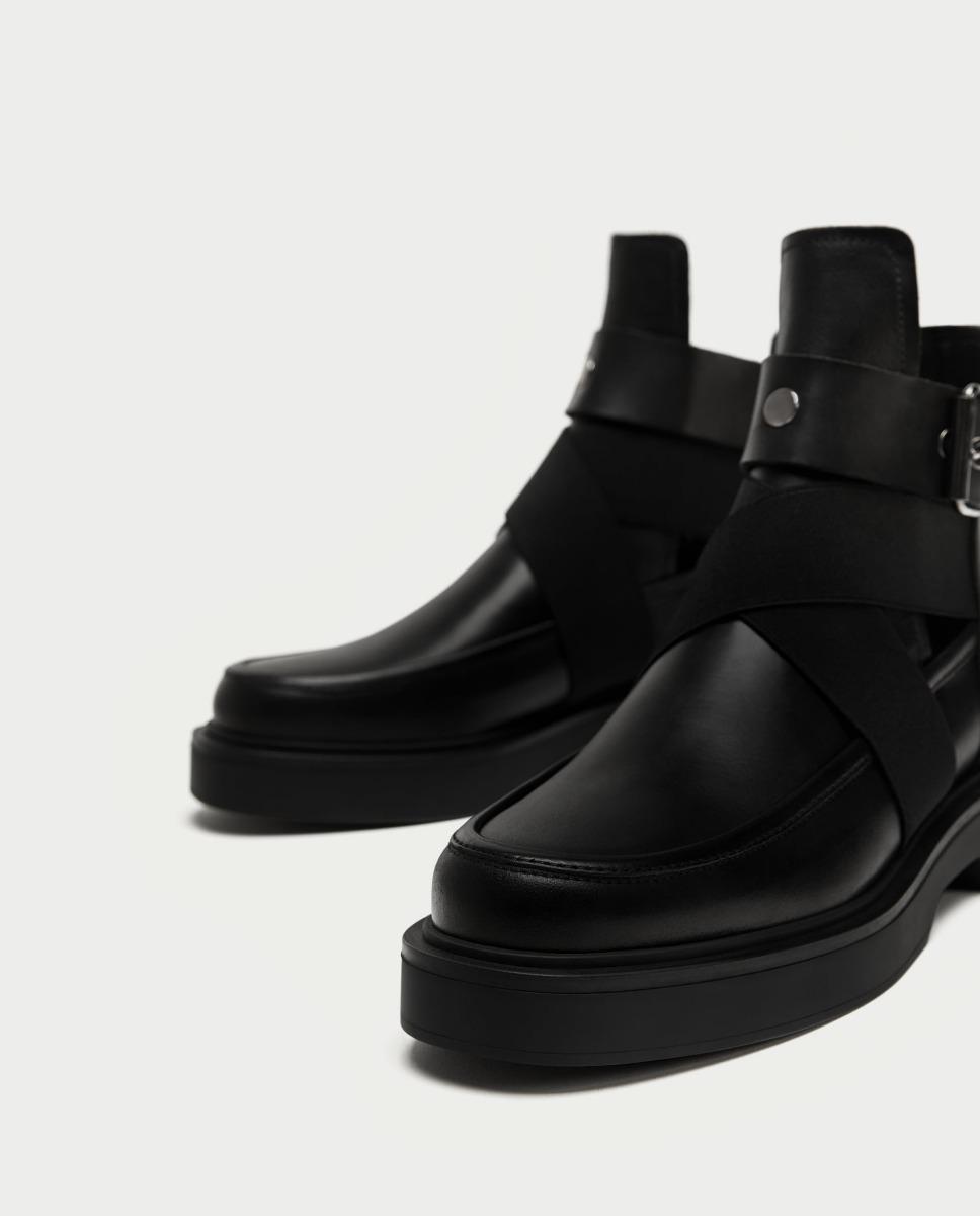 Negros Dama Aberturas 4 00 Zara En Cuero Botin 300 Zapatos wfqBI