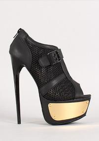 Boutique en ligne e89a2 c9e2c Zapatos Botines Taco Plataforma Negro Importado 38 39 Pedido